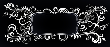Doodle floral ornamental blank frame in white isolated over black. Vector background illustration. Ilustrace