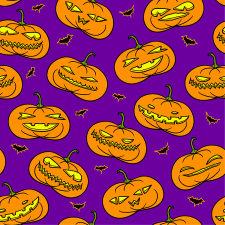 Traditional Halloween seamless pattern with scary smiling pumpkins over purple background.