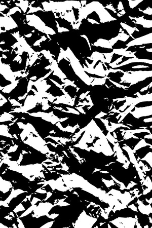 Sheet of crumpled paper background texture. Harsh black and white vector illustration backdrop, vertical format.
