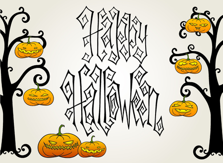 Traditional hand drawn Halloween greeting card with creepy orange pumpkin lanterns hanging on bare trees. Hand lettering with Happy Halloween words.