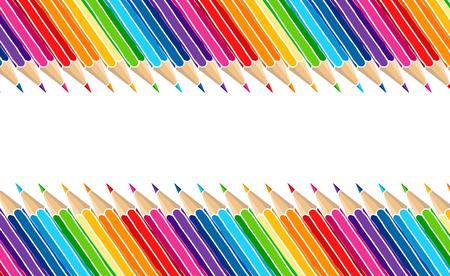 Heldere veelkleurige potlodengrens die over wit wordt geïsoleerd. Kunst briefpapier hand getekend vector illustratie leeg frame.