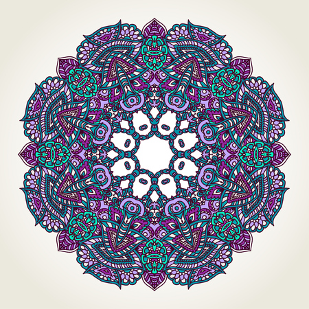 Ornate lacy doodle floral round rosette over white backgrounds. Hand drawn teal, blue and purple mandala. 向量圖像