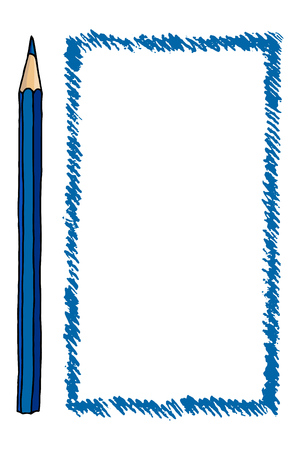 Vector blue freeform strokes doodle illustration blank frame and a pencil. Hand drawn vertical border isolated over white. Çizim