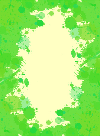 Vibrant bright green watercolor paint artistic splashes frame, vertical format.