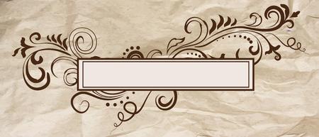 Elegant floral ornamental blank frame in vintage brown over crumpled craft paper. Vector background illustration.