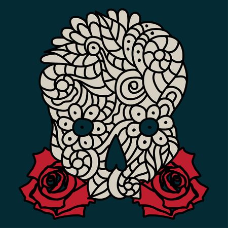 Day of The Dead or Halloween doodle beige skull with red roses. Hand drawn vector illustration isolated over black.