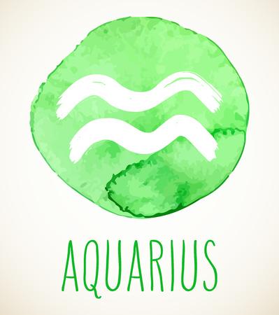 Acuario dibujado a mano ilustración de signo del zodíaco sobre círculo verde claro de acuarela. Elemento de diseño de símbolo de astrología gráfico vectorial aislado en blanco.