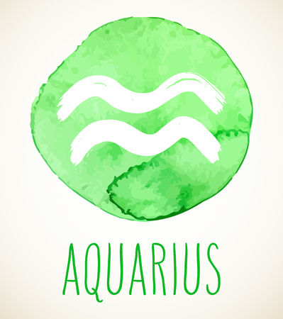 Aquarius hand drawn Zodiac sign illustration over light green watercolor circle. Vector graphic astrology symbol design element isolated over white. Çizim