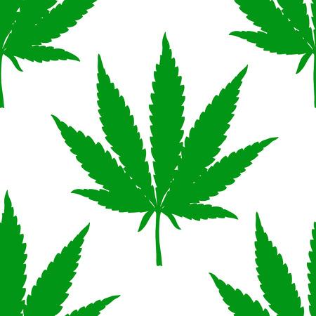 Green marijuana leaf seamless pattern. Hand drawn narcotic cannabis background. Hemp vector illustration backdrop.