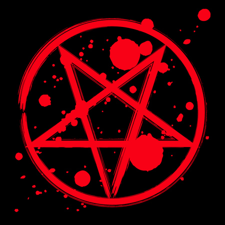 Reversed pentagram icon, brush drawing magic occult star symbol with blood splatter. Vector illustration in red isolated over black.