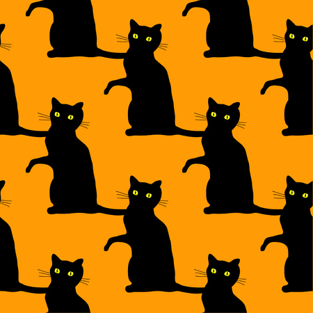 Traditional Halloween seamless pattern with scary black cats over orange background.
