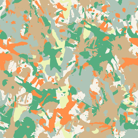 Funky color paint splashes seamless pattern, abstract multicolor vector background. Colorful design wallpaper for textile, fabric, wrapping paper. Camouflage green, brown and orange backdrop. Ilustração