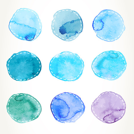 Set of hand drawn blue watercolor circles with dash outline, isolated over white. Vector design elements illustration.