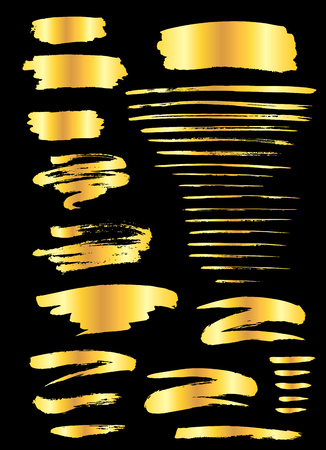 Collection of miscellaneous golden grunge brush strokes isolated over black background. Set of design elements. Vector illustration. Stock Illustratie
