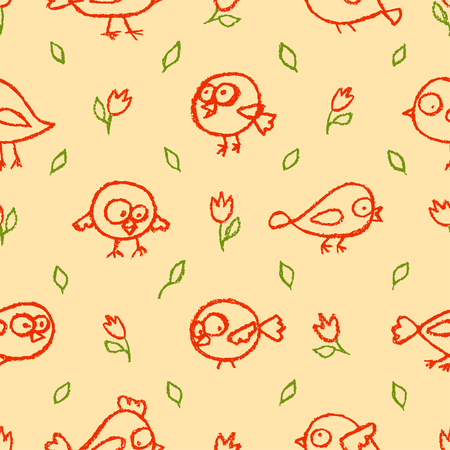 Cute little hand drawn red birds and flowers beige seamless pattern. Cartoon vector background.