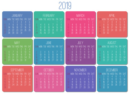 Year 2019 plain contemporary vector monthly calendar. Week starting from Sunday. Multicolor  design over white background.