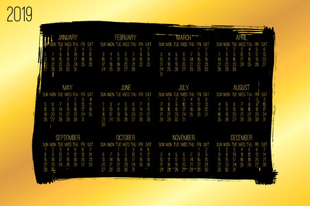 Year 2018 vector monthly modern calendar. Week starting from Sunday. Contemporary wide golden brush stroke framw design over black background.