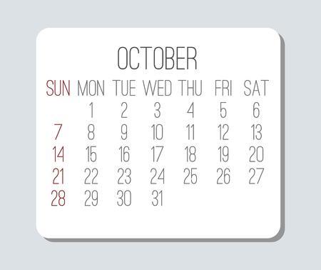 Plain contemporary October year 2018 vector light grey calendar. Week starting from Sunday.
