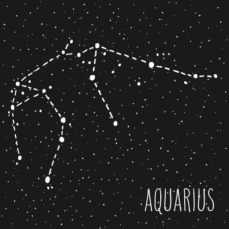 Aquarius hand drawn Zodiac sign constellation in white over black starry night sky. Vector graphics astrology illustration. Western horoscope mystic symbol.