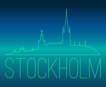 Stockholm skyline contour vector illustration. Green outline silhouette over teal and blue sky. Illustration