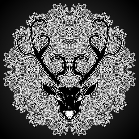 Beautiful hand drawn tribal style deer head over ornate mandala. Magic vintage vector illustration in white over black. Spiritual art, yoga, boho style, nature and wilderness. T-shirts and tattoo design.