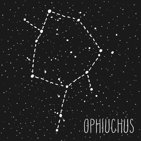 Ophiuchus, thirteenth hand drawn Zodiac sign constellation in white over black starry night sky. Vector graphics astrology illustration. Western horoscope mystic symbol.