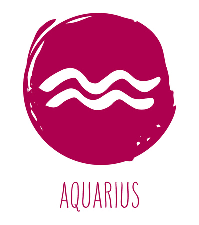 Aquarius hand drawn zodiac sign. Astrology design element. Vector graphic illustration in red freeform brush stroke circle isolated over white. Illustration