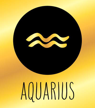 Aquarius hand drawn Zodiac sign illustration. Vector graphic astrology symbol design element in black circle over golden background.