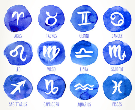 Collection of hand drawn zodiac signs. Astrology design elements set. Vector graphic illustration in blue  circles isolated over white.