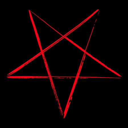 Reversed pentagram icon, brush drawing magic occult star symbol. Vector illustration in red isolated over black.