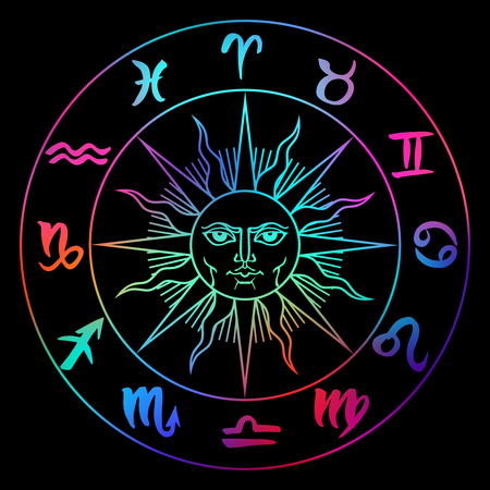 Hand drawn zodiac signs around sun face. Vector graphics astrology celestial illustration in bright colors over black.