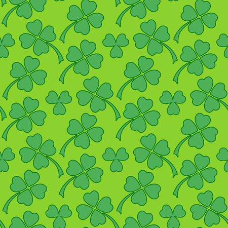 Traditional vibrant green clover leaf seamless pattern. Irish St. Patrick's day vector backround illustration.
