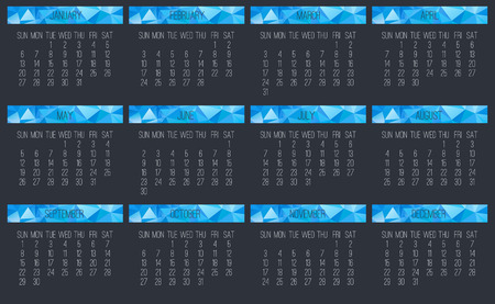 Year 2019 vector monthly calendar. Week starting from Sunday. Contemporary blue low poly design over dark gray background. Illustration