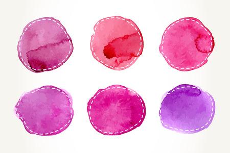 Hand getekende roze aquarel cirkels met streepjes overzicht, geïsoleerd over wit. Vectorillustratie ontwerpelementen. Vector Illustratie