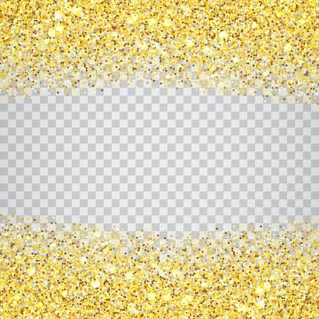 Bordo di texture glitter oro su sfondo a scacchi trasparente. Scintille dorate astratte di coriandoli. Illustrazione di sfondo quadrato vettoriale.
