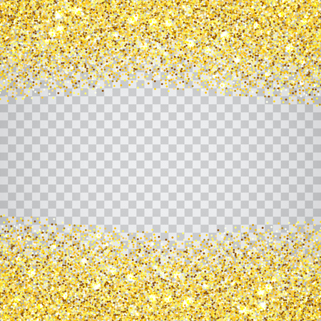 Gold glitter texture border over transparent checker background. Abstract golden sparkles of confetti. Vector square backdrop illustration.