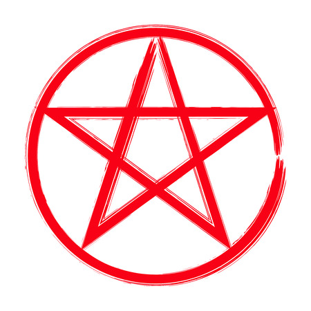 Red pentagram in a circle icon, brush drawing magic occult star symbol. Vector illustration isolated over white. Illustration