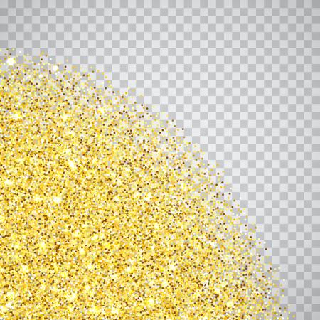 Bordo della trama degli angoli glitter oro su sfondo trasparente a scacchiera. Scintille dorate astratte di coriandoli. Illustrazione di sfondo quadrato vettoriale. Vettoriali