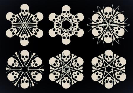 Set di fiocchi di neve vettoriali fatti di teschi e ossa in beige isolato su sfondo nero.
