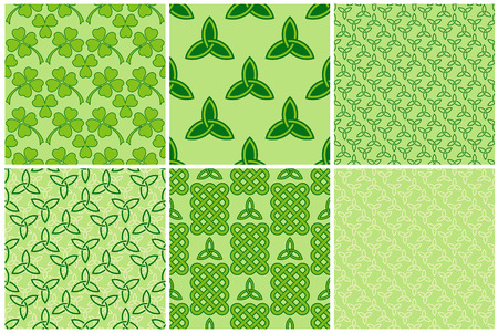 Traditional green celtic style braided knots, triquetra symbols and clover leaves seamless patterns set. Irish St. Patricks day vector backrounds.