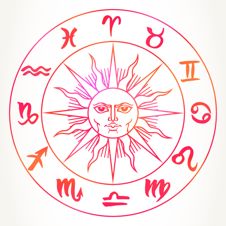 Hand drawn zodiac signs around sun face. Vector graphics astrology celestial illustration in bright red isolated over white.