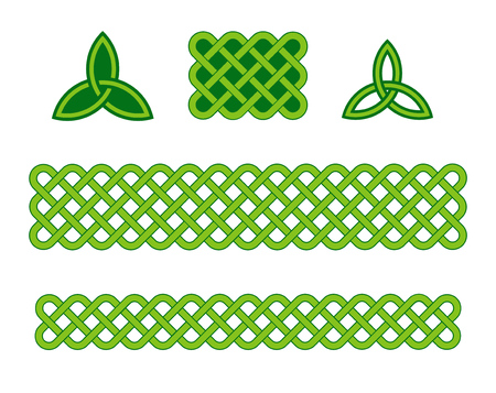 Traditional green celtic style braided knot borders and triquetra design elements isolated over white. Irish St. Patricks day vector background set. Illustration