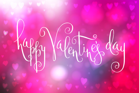 Abstract smooth blur pink background with heart-shaped lights over it and hand written Valentine's day greetings. 向量圖像
