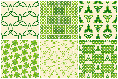Traditional green celtic style braided knots, triquetra symbols and clover leaves seamless patterns set. Irish St. Patricks day vector backgrounds.