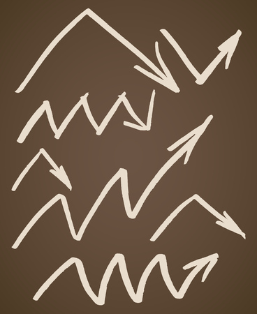Hand drawn angle and zigzag arrows set. Collection of symbols in beige isolated over vintage brown background. Vector illustration.