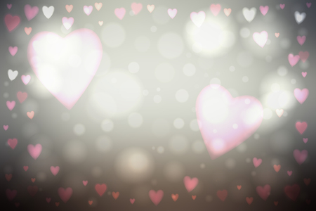 Abstract smooth blur gray background with heart-shaped pink lights over it.  イラスト・ベクター素材