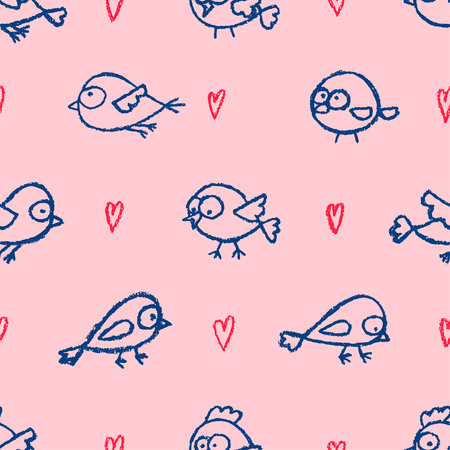 Cute little hand drawn birds and hearts pink seamless pattern. Cartoon vector background.