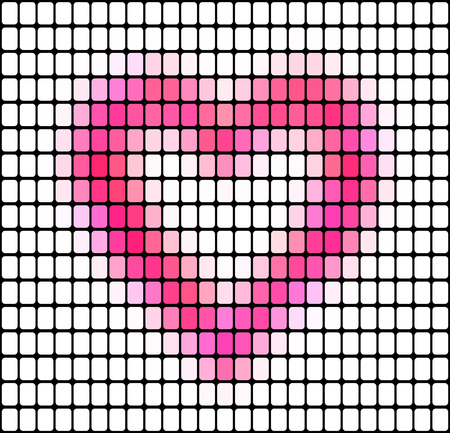 Abstract vector mosaic pink heart background with square tiles.