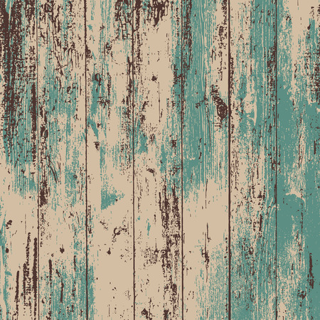 Grunge wood overlay square texture. Vector illustration background in teal and brown. Natural rustic distressed backdrop. Ilustrace