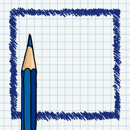 Les traits de forme libre de vecteur griffonnent un cadre vierge et un crayon. Illustration de bordure dessinée à la main sur une page de cahier à carreaux. Vecteurs